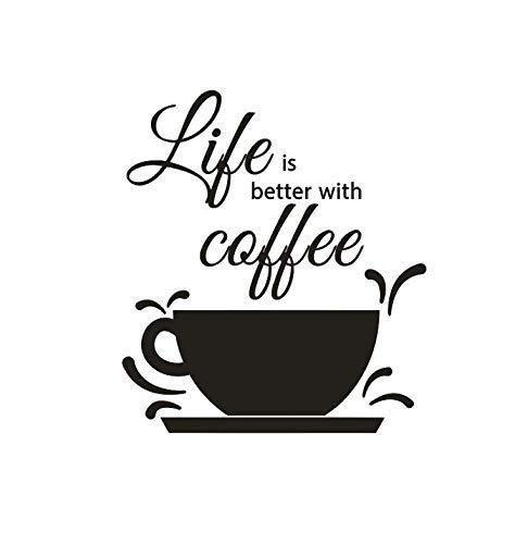 Koffie Design Muursticker Café Shop Decoratie Koffie Tekst Muursticker Leven is Beter met Koffie Quote Muur Muurschildering 42x47cm