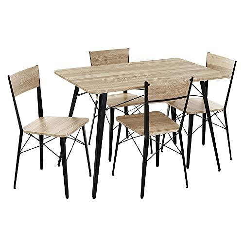Conjunto Mesa y 4 sillas de Comedor de Metal y MDF Industrial Negro y Natural - LOLAhome