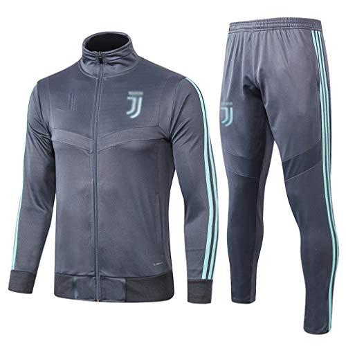 European Football Club Männer Fußball Sweatshirt Langarm Frühling und Herbst Sport Blau Trainings-Uniform (Top + Pants) -ZQY-A0402 (Color : Blue, Size : XL)