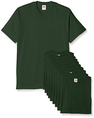 Fruit of the Loom Mens Original Pack, T-Shirt Uomo, Verde (Bottle Green), Medium