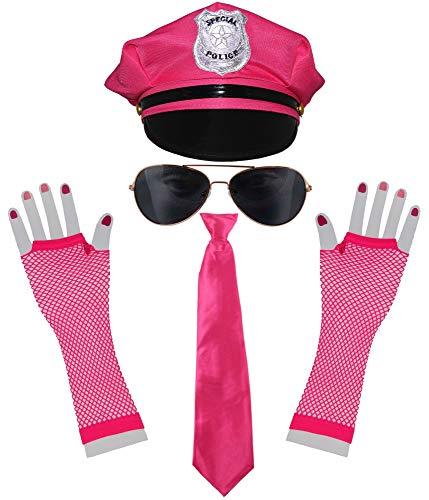 bad taste dieser Style macht geil pinkes 80er Jahre neon Polizei Kostüm Set für Karneval Fasching Junggesellenabschied - Pinke Polizei Mütze, Pinke Krawatte, Sonnenbrille, neon Netzhandschuhe