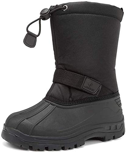 CIOR Kids Snow Boots for Boys Girls Toddler Winter Outdoor Boots Waterproof with Fur Lined(Toddler/Little Kids/Big Kid) TX1-Black-31