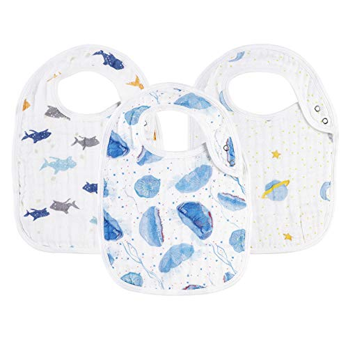 Snap Muslin Bibs for Baby Boys,100% Cotton Baby Bibs with 3 Absorbent & Soft Layers, Baby Boy Bibs for Infants,Newborns and Toddlers,Adjustable,Machine Washable,
