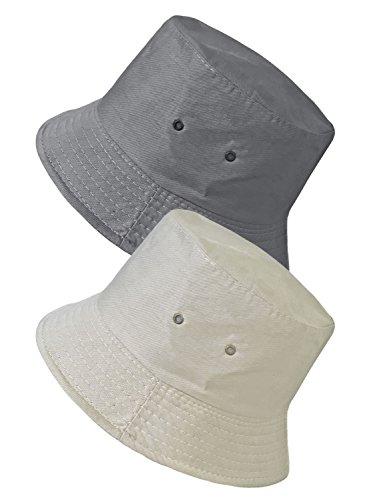 TOSKATOK® Anti UV UPF 50+ Bob été Unisexe Hommes Femmes réversible Coton Melange-Grey/Stone
