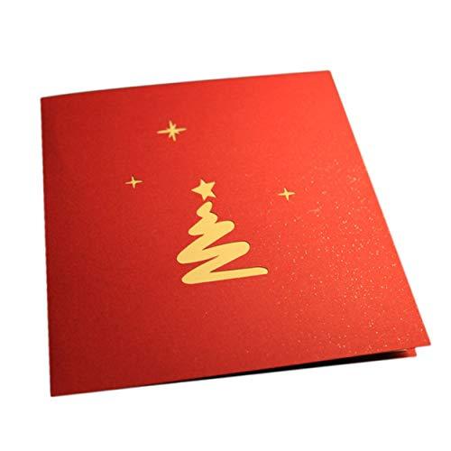 Caroline Philipson Tarjetas de felicitación de Navidad 3D Pop Up Origami estereoscópico árbol de Navidad regalo creativa tarjeta de bendición