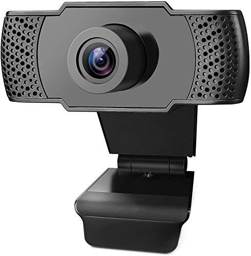 Webcam 1080P Full HD con Micrófono Interfaz USB, Cámara web PRO Streaming Video Call disponible,Compatible con Windows,Mac y Android para PC Video Chat,Juegos y Grabación,Negro (Webcam 1080P)