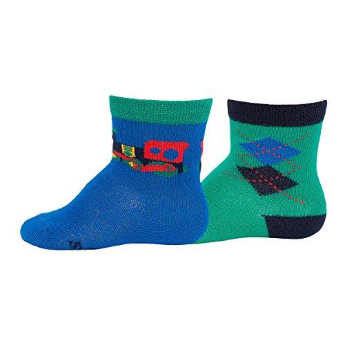 EWERS set van 2 sokken ruit lok baby-sokjes kousen, maat 27/30, groen