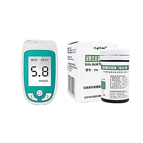 Prueba de Diabetes, Juego de la familia Juego de pruebas de glucosa en la sangre de tres en uno y un probador de ácido úrico multifuncional y un probador de colesterol con 50 glucosa en la sangre, 25