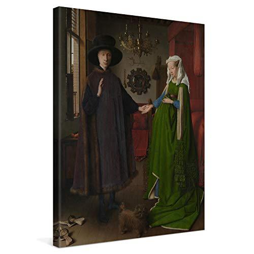 PICANOVA – Jan Van Eyck – The Arnolfini Portrait 60x80cm – Cuadro sobre Lienzo – Impresión En Lienzo Montado sobre Marco De Madera (2cm) – Disponible En Varios Tamaños – Colección Arte Clásico
