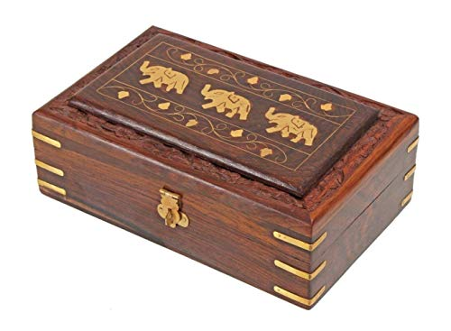 Unique Hand Carved Elephant Rosewood Jewelry Box From India by StarZebra