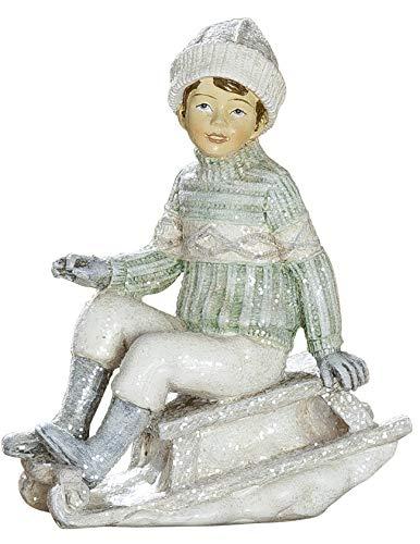 dekojohnson Winterkind Dekofigur Junge mit Schlitten Nostalgie Deko weiß grau Weihnachtsdeko für Innen 11x11cm Groß