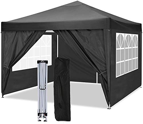 The shelter and The Sunshade shelter and The Gazebo are Fully Waterproof, with a high-Grade pop-up Gazebo in 4 Sides,Black