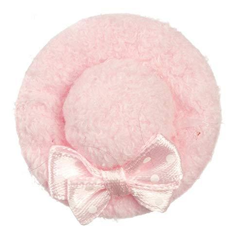 Maison de Poupées Boutique Miniature Filles Femmes Accessoire Rose Velours Chapeau avec Noeud