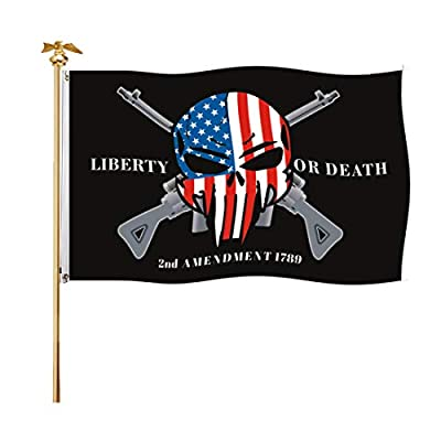FRF Liberty or Death Flag 2nd Amendment Punisher Skull Cross Rifle American 3x5 Outdoor Flags