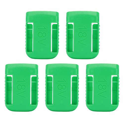 PUSOKEI 5pcs ABS Battery Holder Storage for XR 14V and 54V for Flexvolt,Multiple Battery Shelf Rack Stand Slots Hanger Buckle Green,with Buried Screw Holes,14V‑60V
