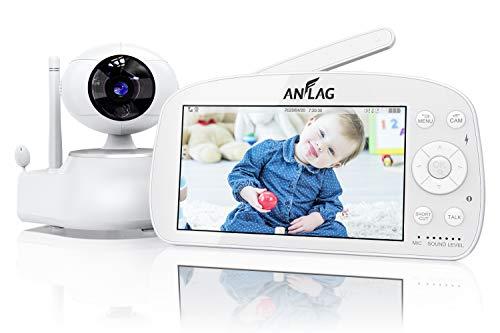 Vigilabebés, ANFLAG Vigilabebés Inalambrico de 1080P, Bebé Monitor de FHD de 5.5' con Visión Nocturna/VOX/Sensor de Temperatura/Audio Bidireccional/Despertador de Alimentar/Canción de Cuna