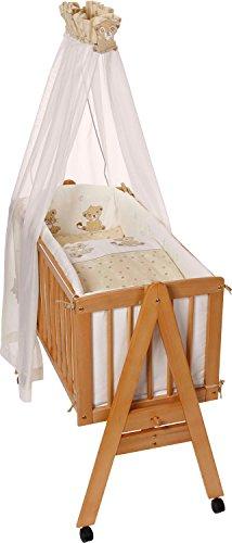 Easy Baby 151-66 Berceau complet à roulettes avec garniture, matelas et support pour ciel de lit Naturel