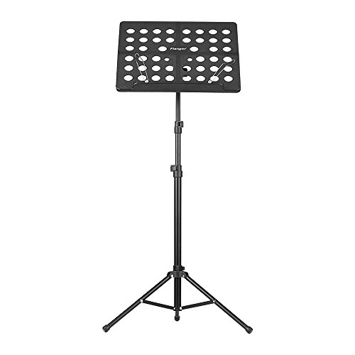 Ammoon FL-05R Opvouwbare plaat Muziekstandaard Aluminium Statief Stand met Waterbestendige Draagtas voor Orkest Viool Piano Gitaar Instrument Prestaties Zwart