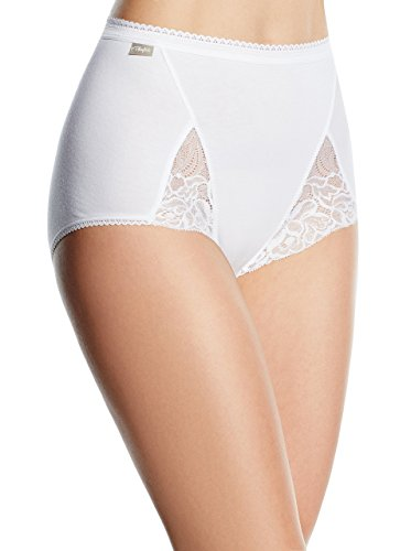 Playtex Coton et Dentelle Maxi, Culotte Taille Haute Femme, Blanc, 50, Lot de 2