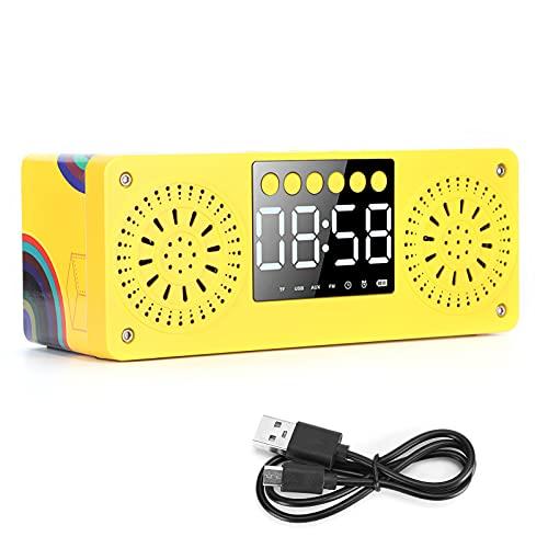 Bluetooth Mini Reloj Inalámbrico de Madera Sonido Contrabajo Portátil Al Aire Libre Tarjeta Enchufable Altavoz Altavoz Bluetooth Portátil de Madera(Amarillo)