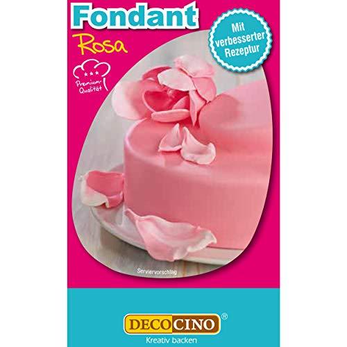 DECOCINO Fondant Rosa – 250 g – ideal zum Verzieren von Kuchen, Torten, Cupcakes – Palmölfrei & Glutenfrei
