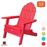 ResinTEAK Plastic Folding Adirondack Chair | Adult-Size, Weather Resistant for Patio Deck Garden, Backyard & Lawn Furniture | Easy Maintenance & Classic Adirondack Chair Design (Candy Red)