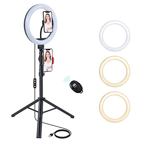 [Upgraded] NEXBOOM 10.2 inch Ring Light with Stand and Phone Holder, Dimmable Selfie Ring Light Tripod Led Ringlight for Live Stream/Makeup/YouTube, Compatible with iPhone Samsung Galaxy and More