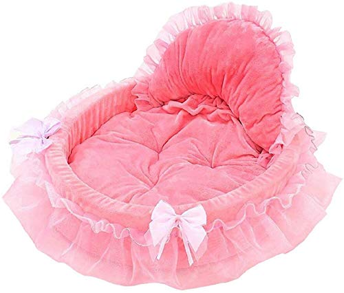 Prinzessin Bow-Haustier-Bett mit Decke und herzförmigen Kissen Short Plüsch Removable Kissen Winter-Warmer Katze und Hundebett,Rosa,L