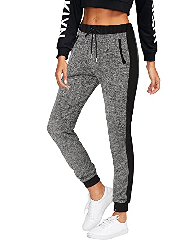BFUSTYLE Pantaloni Tuta Donna in Cotone Pantaloni Sportivi Casual Sweatpants Morbido con Tasche Pantaloni Jogging Grigio Scuro Fitness per Sport Pantaloni Lunghi S