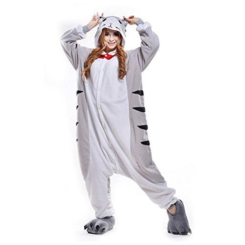 LPATTERN Unisex-Erwachsene Cosplay Pyjamas Onesie  Tier Kostüm Schlafanzug Jumpsuit für Halloween Karneval, Graue Katze, X-Large (Korpergröße 178-188CM)