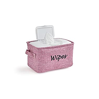 Dejaroo Baby Wipe Storage Bin - Nursery Organizer Caddy - Embroidered Eco-friendly Linen (PINK)