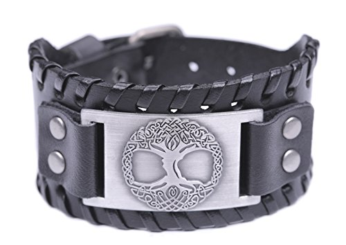 Pagan Tree of Life Yggdrasil Sigil Leather Bracelet Celtic Knot Amulet Jewelry (Antique Silver,Black)