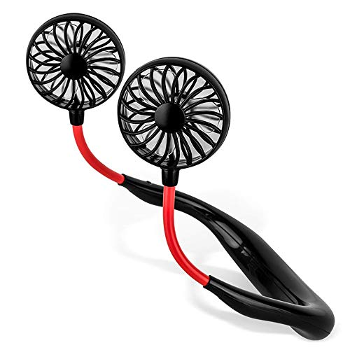 Best Portable Fan, Hand Free Small Personal Mini USB Fan 2000mAh Rechargeable Battery Operated Neck Fan 12H Working Hours 3 Speeds 360 Degree Adjustment Head for Office Travel Outdoor Camping (Black)