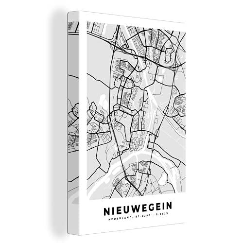 Canvas Schilderijen - Stadskaart - Nieuwegein - Grijs - Wit - 90x140 cm - Wanddecoratie - canvas met 2cm dik frame
