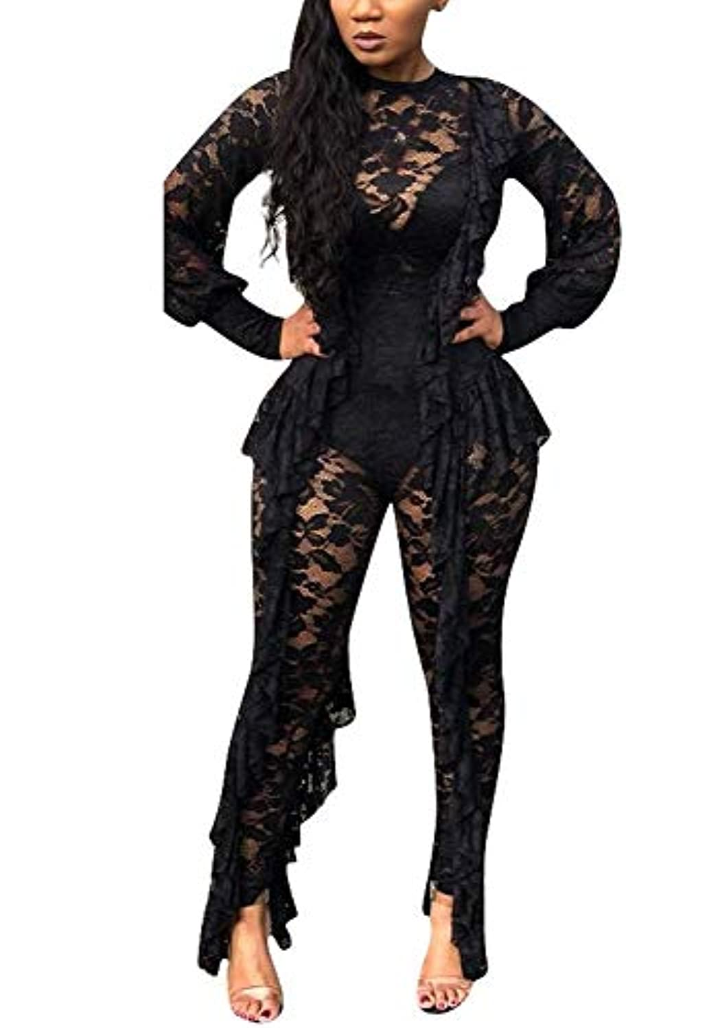 OLUOLIN Women's Sexy Floral Lace See Through Mesh Hollow Out Ruffle Long Pants Bodycon Jumpsuit Rompers Clubwear