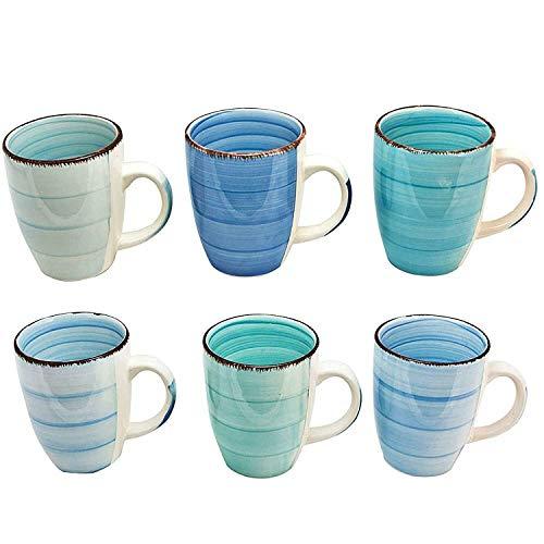esto24 Design 6er Set Kaffeebecher Keramik 350ml in tollen Farben für Ihr liebstes Heißgetränk für Kaffee, Cappuccino und Latte Macchiato (Blau)