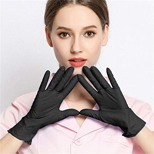Nitrile Exam Gloves,100 Gloves - Food Handling, Medical, Janitorial, Laboratory Use Latex Free, Powder Free,Disposable Nitrile Industrial Gloves,Waterproof Medical Exam Glovers (Black, M)