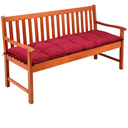 Detex Bankauflage 145x45x8cm Viskoeffekt Indoor Outdoor Polsterauflage Bank Polster Auflage Sitzpolster Sitzauflage Rot