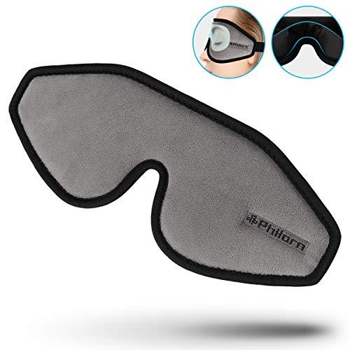 PHILORN 3D Schlafmaske Für Absolute Dunkelheit - 0 Augendruck, Verstellbare Augenmuscheln - Hautfreundliches 3D Konturiertem Schlafbrille Augenmaske mit Verstellbarem Gurt und Atmungsaktive Gewebe