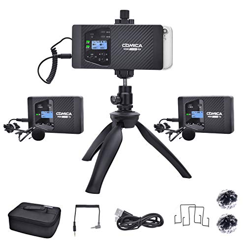 Wireless Lavalier Microphone,Comica CVM-WS60 Combo Dual Wireless Lapel Mic with 2 Transmitter and 1 Recevier, Lav Mic System for Smartphone Camera Podcast Interview Recording (194 Wireless Range)