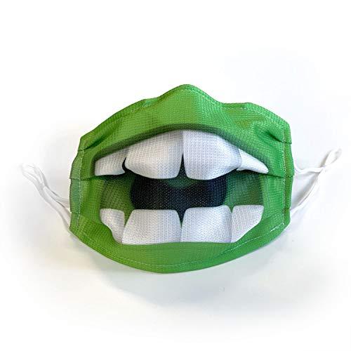 Mund-Nasen-Schutz Maske, MNS Maske mit lustigem Motiven (Grün)