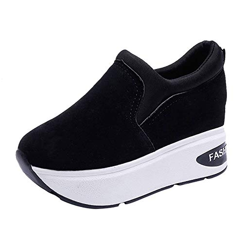 Damen Sneaker Mädchen Mode Laufschuhe Freizeit Leder Freizeitschuhe Sportschuhe mit Reißverschluss… (EU:37.5, Schwarz - B)