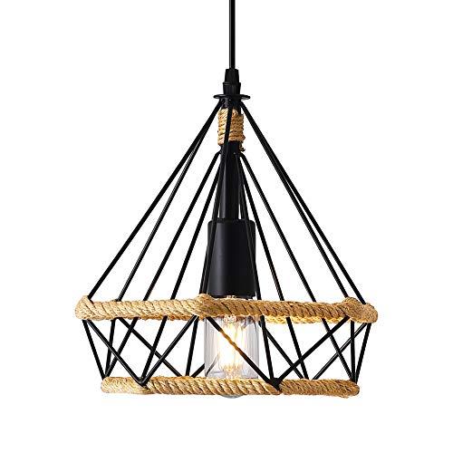Lámpara Colgante Vintage,cuerda de cáñamo Retro Lámpara de Techo Colgante industrial,Lámpara de suspensión de jaula de hierro en forma de diamante Luces de techo,25 cm