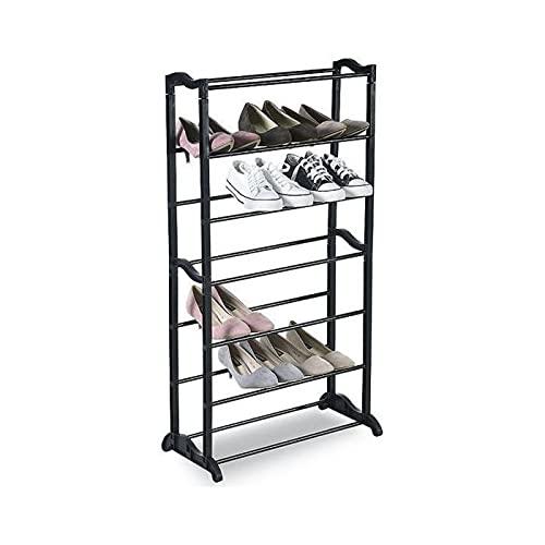 Acan Zapatero de Metal estantería Multiusos para Zapatos 7 estantes 55,5 x 25 x 95 cm Mueble Zapatero 7 baldas Color Negro