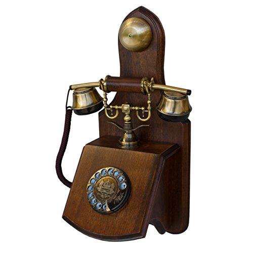 Opis 1921 Cable - Modell D - Retro Wand Telefon aus Holz und Metall Telefon mit echter, rotierender Wählscheibe und Metallklingel