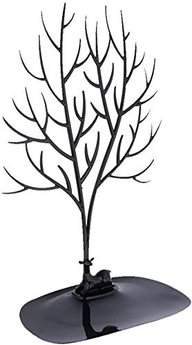 Collar con diseño de árbol, colgante y pendientes, soporte para joyas, expositor portátil, color negro