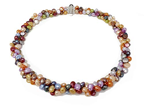 TreasureBay FAB Chunky Modern Twist Three-row Multi Colours Freshwater Pearl Necklace with Silver Sliding Clasp
