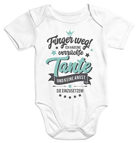 MoonWorks® Kurzarm Baby Body Finger Weg! Ich Habe eine verrückte Tante lustig Spruch Onesie Strampler weiß 3-6 Monate