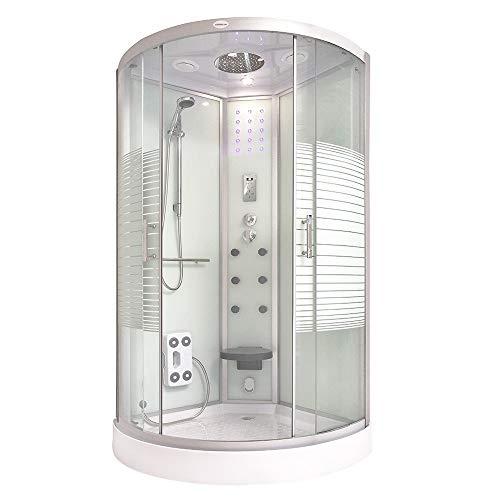 Home Deluxe - Dampfdusche 90x90 - Komplettdusche White Pearl mit Regendusche | Duschtempel, Fertigdusche, Dusche, Duschkabine Komplett