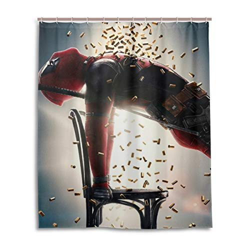 shower curtain with deadpool picture